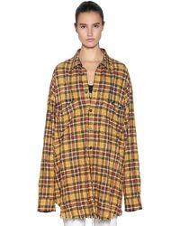 Faith Connexion Oversize Studded Check Cotton Shirt - Yellow