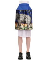Natargeorgiou - Printed Neoprene & Techno Chiffon Skirt - Lyst