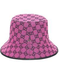 Gucci Шапка Из Канваса Gg Multicolor - Пурпурный