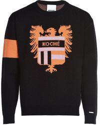 Koche Logo Crest Jacquard Wool Knit Jumper - Black