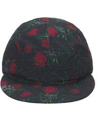 Yohji Yamamoto Flowers Print Tech Baseball Cap - Black