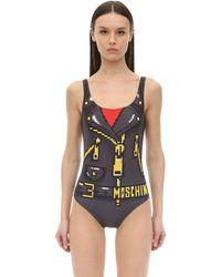 Moschino Biker Printed Lycra One Piece Swimsuit - Серый