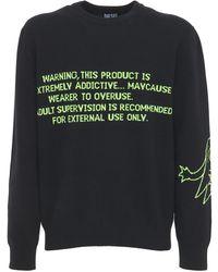 DIESEL Wool Blend Jacquard Knit Sweater - Black