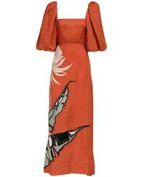 Johanna Ortiz Embroidered Linen Maxi Dress - Orange