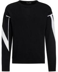 Valentino インターシャロゴカシミアセーター - ブラック