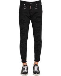 DSquared² Jean Coupe Skinny Dan En Denim De Coton 15Cm - Noir