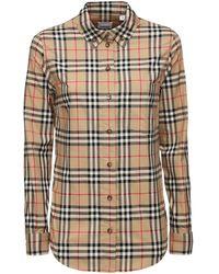 Burberry Рубашка Из Поплин Стретч - Естественный