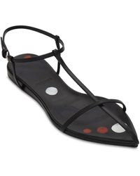 Jil Sander 10mm Leather T-bar Sandals - Black