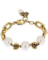 Alexander McQueen Armband Mit Perlen - Mettallic