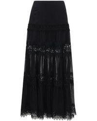 Charo Ruiz Ruth Voile & Broderie Long Skirt - Black