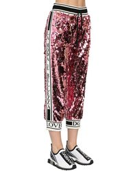 Dolce & Gabbana Sequined Sweatpants W/ Knit Side Bands - Pink