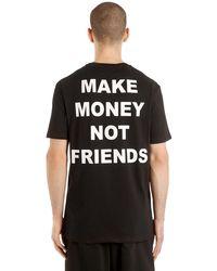 MAKE MONEY NOT FRIENDS T-Shirt En Jersey De Coton Logo Imprimé - Noir
