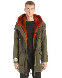 Yves Salomon Army Wool Gabardine Parka W/ Fur Lining - Green