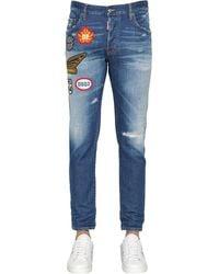 DSquared² Jeans De Denim De Algodón Con Parches 16Cm - Azul