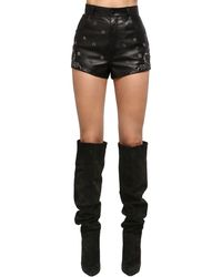 Saint Laurent High-rise Embroidered Leather Shorts - Black