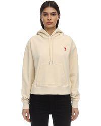 AMI Cotton Sweatshirt Hoodie - Белый