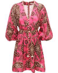 Zimmermann Короткое Платье Из Льна С Принтом - Розовый