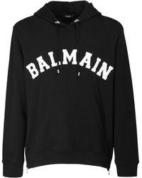 Balmain College Logo Cotton Sweatshirt Hoodie - Черный