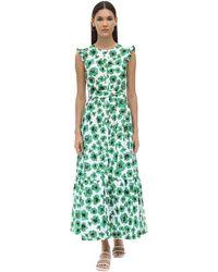 Borgo De Nor Gabriella Floral Print Poplin Dress - Grün