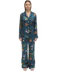Olivia Von Halle Set De Pijama De Seda Con Estampado - Azul