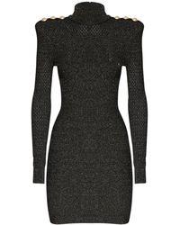 Balmain Платье-мини Из Трикотажа С Люрексом - Черный