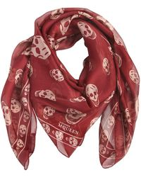Alexander McQueen - Skull Print Silk Chiffon Scarf - Lyst