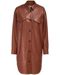Designers Remix Marie エコレザーシャツドレス - ブラウン