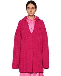 Balenciaga オーバーサイズ ウェーブニットスウィングセーター - ピンク