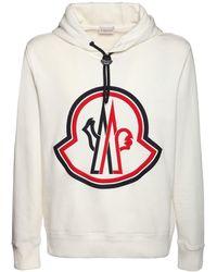 Moncler Hoodie Aus Baumwollfleece Mit Logo - Weiß