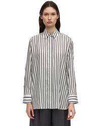 The Row Big Sisea Striped Silk Shirt - Black