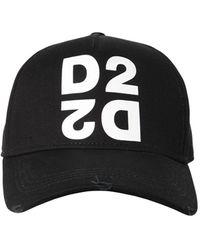 DSquared² Bestickte Baseballkappe mit Print - Schwarz