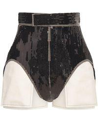 Rick Owens Shorts In Cotone Con Paillettes - Nero