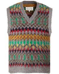 Maison Margiela V Neck Wool Knit Vest - Grey