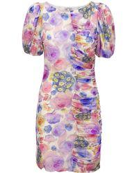 Ganni Printed Mesh Ruched Mini Dress - Multicolour