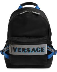Versace - Black And Blue Nylon Backpack - Lyst