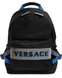 Versace Rucksack Aus Nylon Mit Logo - Schwarz