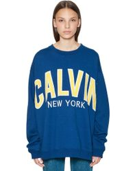 Calvin Klein Jeans - Oversized Logo Patches Cotton Sweatshirt - Lyst
