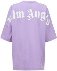 Palm Angels オーバーサイズコットンジャージーtシャツ - パープル