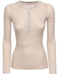 Gabriela Hearst Buttoned Cashmere & Silk Knit Top - Natural