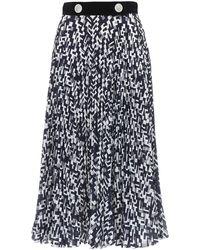 Prada Falda Plisada De Seda Con Estampado - Negro