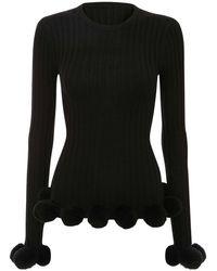 JW Anderson Pompom ウールニットセーター - ブラック