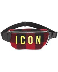 DSquared² Icon Checked Wool Belt Bag - Black