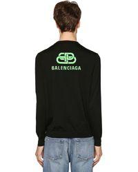 Balenciaga Pullover Aus Merinowolle Mit Logo - Schwarz