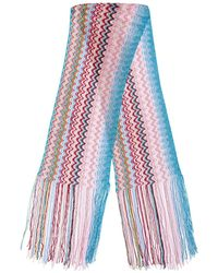Missoni Fringed Multicolor Knit Mini Scarf - Pink