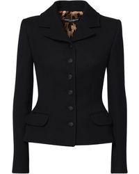 Dolce & Gabbana Пиджак Из Шерстяного Крепа - Черный