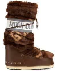 Gcds Classic Icon Moon Boot W/ Knit Band - Brown