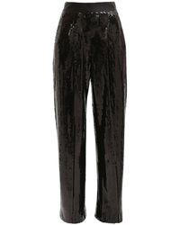 Alessandra Rich スパンコールワイドパンツ - ブラック