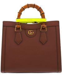 """Gucci Mini Handtasche Aus Leder Und Bambus """"diana"""" - Mehrfarbig"""