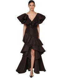 Johanna Ortiz - Ruffled Silk Faille Maxi Dress - Lyst