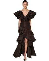 Johanna Ortiz Ruffled Silk Faille Maxi Dress - Коричневый